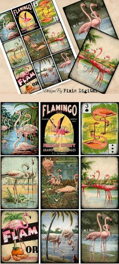 Vintage flamingo pictures in a digital download, you print the collage and use for so many things - gift tags, bookmarks, journal cards, scrapbooking. #ad #etsyseller #flamingos #printables
