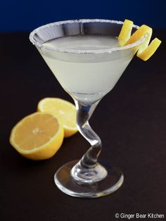 lemon drop martini:  2oz vodka, 1/4oz triple sec, 1/2oz lemon juice.  Shake and pour