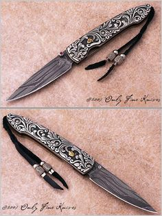 William Henry T10 Lancet  T10 Silver Ribbon #2 of 5  Over All Length 	 6 3/16 in 	  	  Blade Length 	 2 5/8 in 	  	Lanyard 	 Black Leather with Sterling Silver Beads.  Blade Material  Ribbon Lace Damascus.   Frame Material 	 Titanium 	  	  Scale Material 	Carved Sterling Silver with 24K Gold 	  	  Weight 	 1.4 oz  Thumb / Button 	 Ruby