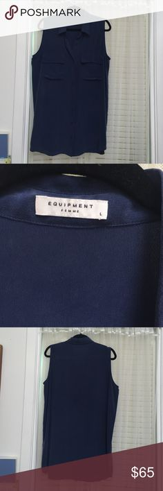 Equipment silk sleeveless blouse dark blue L Beautiful silk Equipment sleeveless blouse with pockets. Excellent condition no stains or missing buttons. Worn maybe twice. Size large. Can be worn as a tunic or blouse. I'm 5'4 and wore it as a dress, hit about mid/high thigh. Equipment Tops Blouses