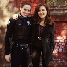 My partner in crime. Beat cop#OfficerBurgess@marinasquand yours truly,#DetectiveLindsay- follow Marina for more behind the scenes updates on@Chicago P.D.!!#ChicagoPD