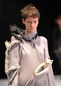A model walks the runway at the Miguel Adrover fall 2012 fashion show during Mercedes-Benz Fashion Week at Teatro Latea on February 11, 2012 in New York City.