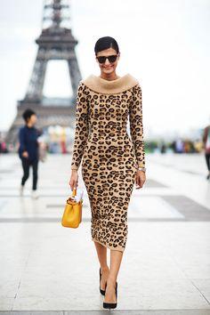 Giovanna Battaglia in Leopard   Paris Fashion Week Spring 2014 Street Style
