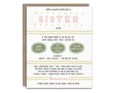 A pregnancy reveal card for your best friend -- the sister from another mister who you know your little one will be calling aunt! Such a fun way to tell your best friend you're pregnant!  By WrittenInDetail on Etsy