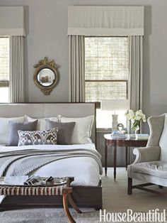 Love this gray bedroom ❤ { Benjamin Moore's Rockport Gray}