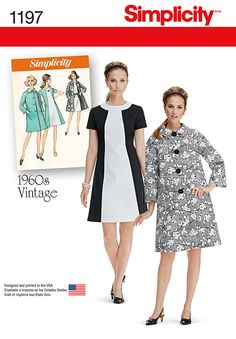 Simplicity Pattern 1197 Misses' Vintage Dress and Lined Coat. misses' vintage dress features a contrast neck band and front, and optional belt. pattern also includes lined button front coat with collar and pockets. Sizes 16 thru Vintage Dresses 1960s, Vestidos Vintage, Vintage Outfits, Vintage Fashion, Retro Vintage, Coat Pattern Sewing, Coat Patterns, Clothing Patterns, Simplicity Sewing Patterns