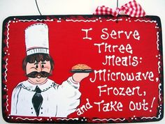 6x9 FAT CHEF I Serve 3 Meals SIGN Kitchen Plaque Italian Decor Handcrafted Wood | eBay