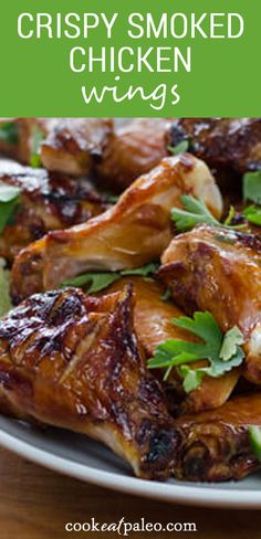 How to make crispy grilled chicken wings on the grill with a great smoky flavor! These crispy smoked chicken wings are equally delicious as an easy dinner, lunch, or even as an appetizer for a BBQ. This easy recipe is Keto, Low Carb, Paleo, and Whole30-friendly. Great for watching the game! Smoked Chicken Wings, Grilled Chicken Wings, Slow Cooked Chicken, Paleo Chicken Recipes, Paleo Recipes, Real Food Recipes, Healthy Superbowl Snacks, Healthy Summer Recipes, Whole 30 Diet