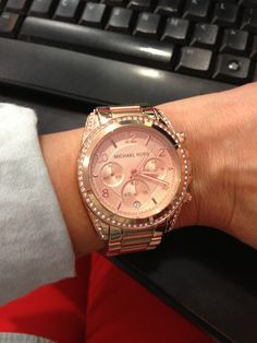 MK rose gold watch with diamonds