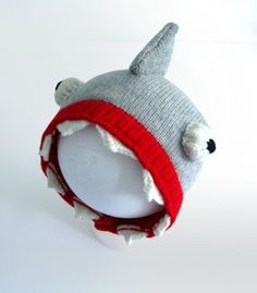 Handmade Knitted Baby Shark Hat by The Miniature Knit Shop