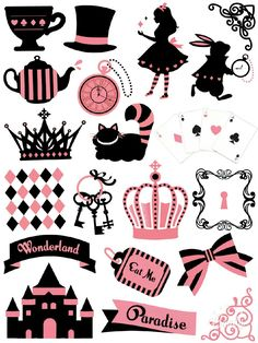 Alice In Wonderland - Sticker Printable #sticker#printable#aliceinwonderland#diy#scrapbooktools#candycameraapp