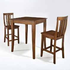 Amazon.com : 3-Piece Pub Dining Set Table with 2 Cabriole Leg Shield Back Chairs : Dining Room Furniture Sets : Furniture & Decor