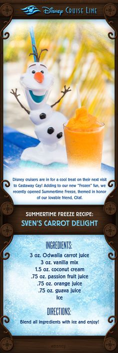 "Disney cruisers are in for a cool treat on their next visit to Castaway Cay! Adding to our new ""Frozen"" fun, we recently opened Summertime Freeze! Check out this cool treat inspired by the new locatio(Need To Try Disney Cocktails) Disney Inspired Food, Disney Theme, Disney Food, Disney Recipes, Disney Dream Cruise, Disney Cruise Ships, Disney Vacations, Disney Cocktails, Cruise Travel"
