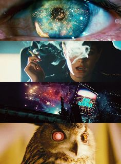 """stills from a scene in Blade Runner, a Ridley Scott film adaptation of Philip K Dick's brilliant """"Do Robots dream of Electric Sheep? in which Rick Deckard (the blade runner) is testing Rachael, Dr Tyrell's assistant, to find out if she is a replicant. Science Fiction, Pulp Fiction, Cyberpunk, Great Films, Good Movies, New Retro Wave, Bon Film, Fritz Lang, I Love Cinema"""