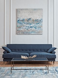 Our Herringbone Sofa, crafted in a textured herringbone fabric blend, is a very attractive piece of furniture that comes with both contemporary and classical elements. Luxury Sofa, Modern Blue Sofa, Blue Sofas Living Room, Sofa Uk, Blue Living Room, Best Sofa, Velvet Sofa Uk, Armchair Furniture, Furniture