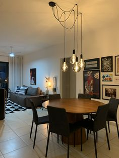 Discover recipes, home ideas, style inspiration and other ideas to try. Small Apartment Interior, Small Apartment Decorating, Interior Design Living Room, Home Decor Bedroom, Living Room Decor, Lights Over Dining Table, Dining Room Light Fixtures, House Design, Lighting For Dining Room