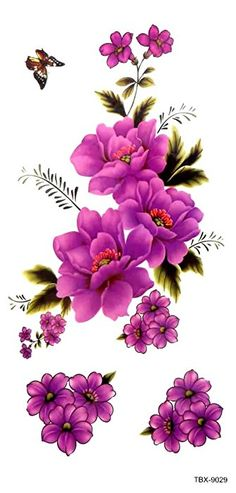 GGSELL GGSELL new release temporary tattoos stickers for women and girls, one paper tattoo including a lot of purple flowers with one butterfly Flower Background Wallpaper, Flower Backgrounds, Decoupage Vintage, Decoupage Paper, Large Flowers, Pretty Flowers, Purple Flowers, Flower Images, Flower Art