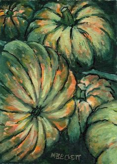ACEO Original Pumpkin Harvest Halloween still life jack o lantern orange green #Impressionism