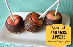 Caramel Apples - Dairy and Sugar Free! Now you can recreate those yummy gooey-sweet-covered fall delicacies in your own home!