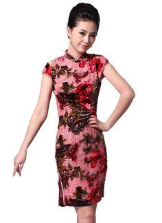 Hot blaze. Short retro summer cheongsam dress dress