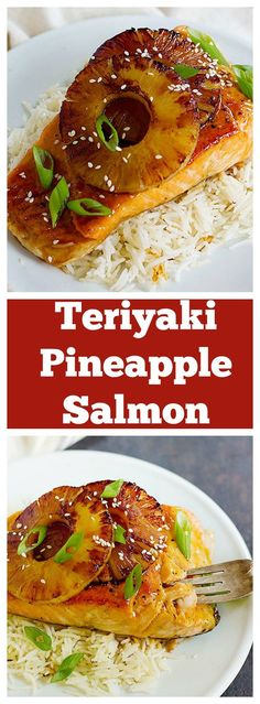 Give your usual seafood recipe a great twist with this teriyaki pineapple salmon. Fresh pan seared salmon smothered in delicious sweet and tangy sauce topped with caramelized pineapple! Give your usual seafood recipe a great twist with this t Salmon Dishes, Fish Dishes, Seafood Dishes, Seafood Pasta, Salmon Soup, Seafood Kitchen, Seafood Platter, Salmon Fish Recipe, Tilapia Fish Recipes