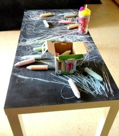 Make your own BLACKBOARD TABLE! It's the perfect height for toddlers. Just paint an old coffee table with blackboard paint, buy some chalks & you're away! Check out our other ideas too: http://www.under5s.co.nz/shop/Articles/Activities.html?ppp=1000
