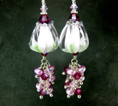 Pink Tulip Lampwork Earrings .... I want these!!!