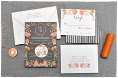 Botanical Tapestry Wedding Invitation Suite | hand drawn whimsical look, vintage flair and orange florals | Smitten On Paper