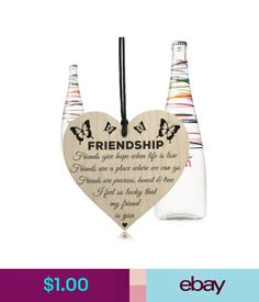 Plaques & Signs Wooden Hanging Gift Plaque Pendant Family Friendship Love Sign Wine Tags Decor #ebay #Home & Garden