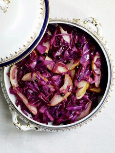 This stir-fried red cabbage recipe has the added flavours of succulent pears and fragrant juniper.