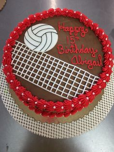 Volleyball Birthday Cakes, Volleyball Cookies, Volleyball Party, Themed Birthday Cakes, Birthday Cake Girls, Birthday Favors, Diy Birthday, Themed Cakes, Sport Cakes
