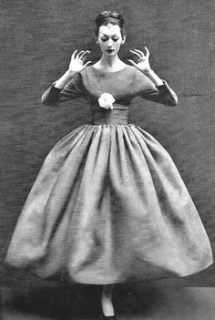 Dovima in Balenciaga, photo by Richard Avedon, Harper's Bazaar, Oct. 1955 | by 50'sfan
