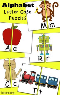 Free Alphabet Letter Puzzles. Hands-on upper and lowercase matching plus letter sounds.: