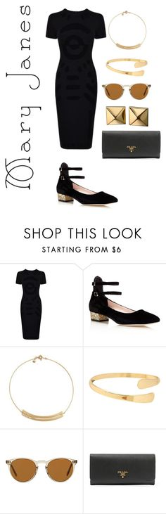"""""""Untitled #102"""" by cokocoko on Polyvore featuring McQ by Alexander McQueen, Kate Spade, Madewell, Oliver Peoples, Prada and Waterford"""