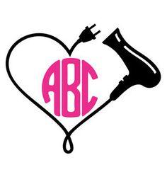 Hair Stylist Hairdresser Monogram Sticker Blow by InYourDreamsShop