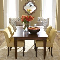 yellow, gray palette with warm honey walls Christopher Dining Table - Ethan Allen US