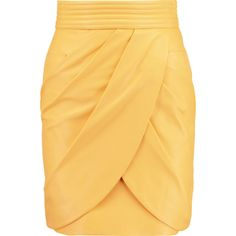 Balmain Wrap-effect leather mini skirt (101975 RSD) ❤ liked on Polyvore featuring skirts, mini skirts, yellow, stretch skirts, yellow mini skirt, mini skirt, short skirts and short wrap skirt
