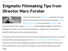 Filmmaking Tips from Director Marc Forster