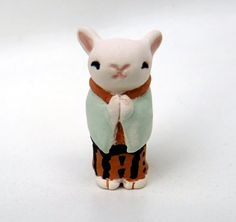 Kimono Bunny Rabbit Figurine - Japanese Ceramic Miniature - Handmade Art Sculpture -