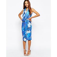 ASOS Printed Drape Front Midi Pencil Dress (34 PAB) ❤ liked on Polyvore featuring dresses, multi, wrap midi skirt, zipper dress, asos, asos dresses y wrap skirt