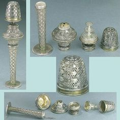Antique Solid Silver Needlework Compendium/ Thimble * Circa 1750