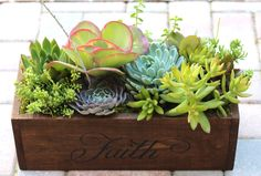 Succulent Centerpiece Thanksgiving Trough Style in Wooden Planter - Faith Family Love Hope- Perfect Gift Home or Event Decor