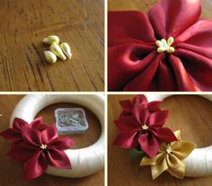 Make Poinsettias out of ribbon