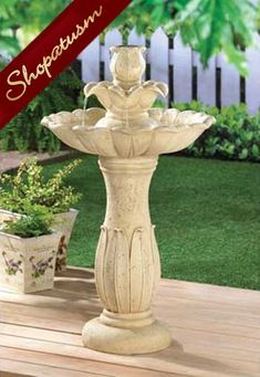 Lotus Flower Sand Color Floral Motif Indoor Outdoor Fountain