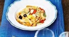 Sonnentor+Tagliatelle+mit+Tofu Tofu, Pasta Salad, Drink, Ethnic Recipes, Online Shopping, Projects, Food Food, Recipies, Crab Pasta Salad