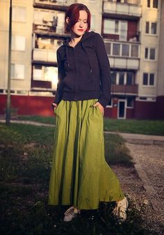 Get this look: http://lb.nu/look/8682633  More looks by Petra Butkova: http://lb.nu/petrabutkova  Items in this look:  Levi's® Grey Hoodie, Ihlow Green Long Skirt, Nike White Sneakers   #casual #romantic #sporty #photo #styling #skirt #ihlow #blog #urban