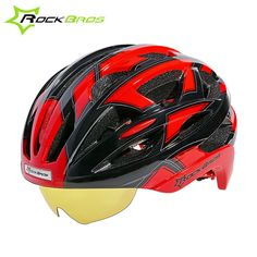 67e213c5d8c ROCKBROS Bicycle Helmet With Glasses Unisex Magnets Goggles Design Mountain Road  Bike With 3 Lenses 4 Colors TK051-in Bicycle Helmet from Sports ...