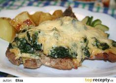 Brabantský vepřový kotlet s listovým špenátem recept - TopRecepty. Spanakopita, Quiche, Pork, Meat, Chicken, Cooking, Breakfast, Ethnic Recipes, Kale Stir Fry