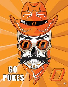 Oklahoma State University GO POKES   Pistol Pete OSU Sugar Skull Print  Oklahoma State University fca666ee4538