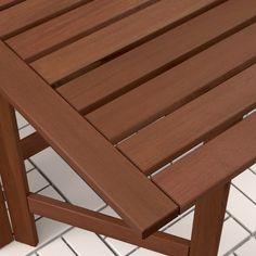 IKEA - ÄPPLARÖ Table and 2 folding chairs, outdoor brown stained Teak, Outdoor Folding Chairs, Small Balcony Decor, Wood Supply, Balcony Table And Chairs, Eames Chairs, Arm Chairs, Dining Chairs, Dinning Table